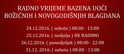 Radno vrijeme za blagdane 2016.