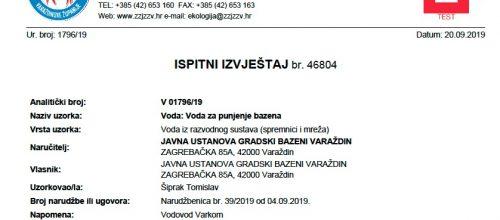Ispitni izvještaji vode – Zavod za javno zdravstvo 09.2019.