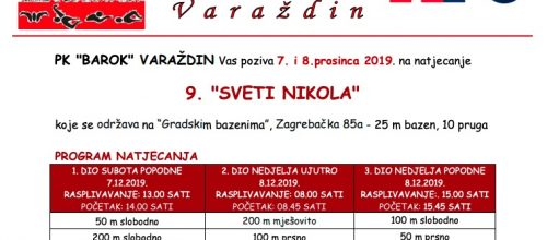 PK BAROK: Miting 9. Sveti Nikola 07. i 08.12.2019.